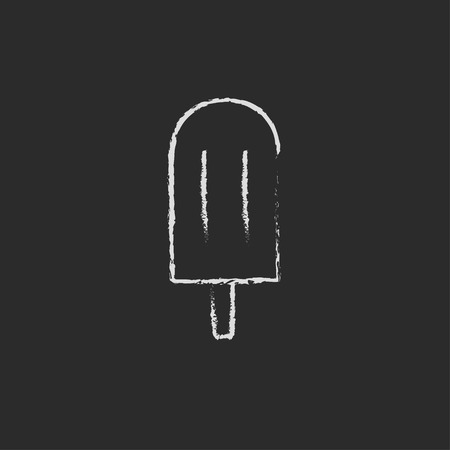 licking in isolated: Popsicle hand drawn in chalk on a blackboard vector white icon isolated on a black background.
