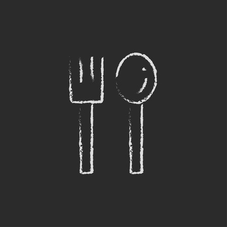 prepare: Spoon and fork hand drawn in chalk on a blackboard vector white icon isolated on a black background.