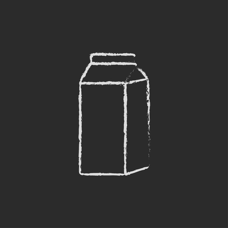 packaged: Packaged dairy product hand drawn in chalk on a blackboard vector white icon isolated on a black background.