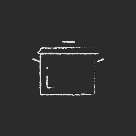stainless steel pot: Saucepan hand drawn in chalk on a blackboard vector white icon isolated on a black background.