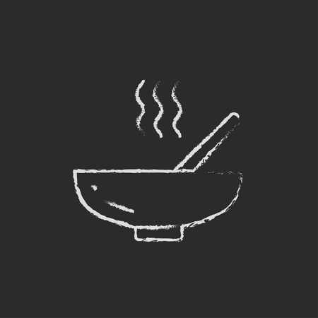 broth: Bowl of hot soup with spoon hand drawn in chalk on a blackboard vector white icon isolated on a black background. Illustration