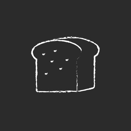 黒の背景に分離された黒板白ベクトル アイコンにチョークで描かれたパン手の半分。