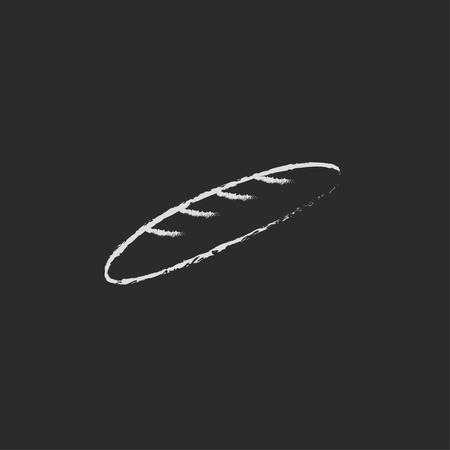 Baguette hand drawn in chalk on a blackboard vector white icon isolated on a black background.