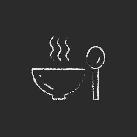 Tazón de sopa caliente con cuchara dibujado a mano con tiza en un icono blanco vector de pizarra aislado en un fondo negro.