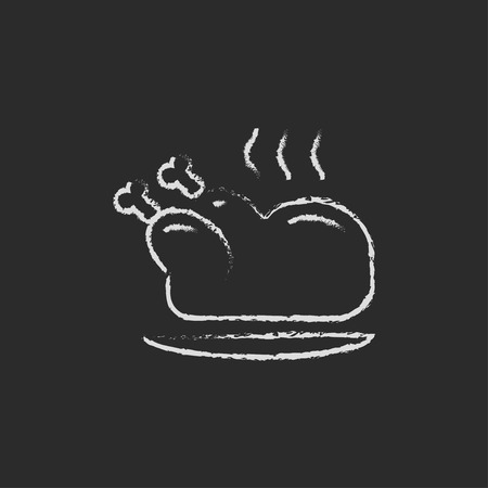 whole chicken: Baked whole chicken hand drawn in chalk on a blackboard vector white icon isolated on a black background.
