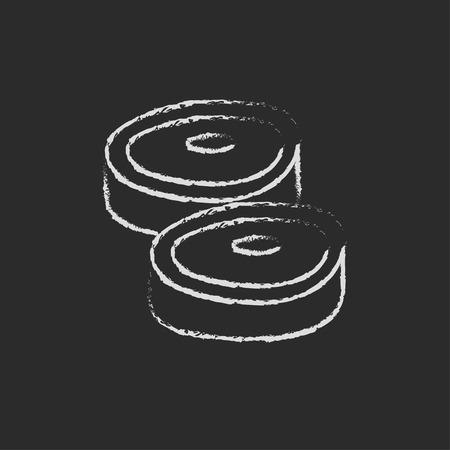ステーキの手が黒い背景に分離された黒板白ベクトル アイコンにチョークで描かれました。 写真素材 - 45320306