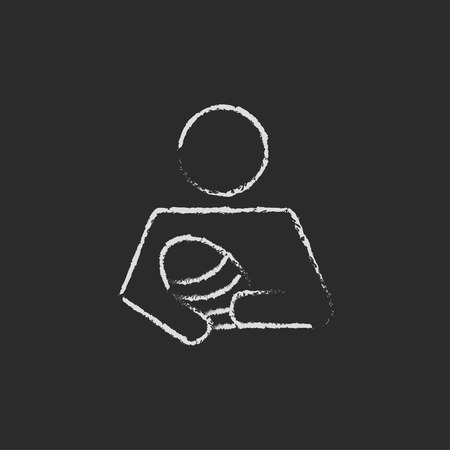 Nurse holding the baby hand drawn in chalk on a blackboard vector white icon isolated on a black background.