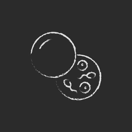 Donorsperma de hand getekend met krijt op een schoolbord vector wit pictogram geïsoleerd op een zwarte achtergrond. Stock Illustratie
