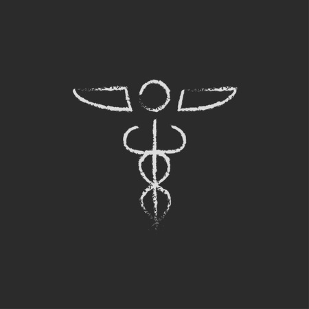 therapeutics: Medical symbol hand drawn in chalk on a blackboard vector white icon isolated on a black background.