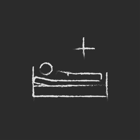 sickbed: Patient lying on the bed hand drawn in chalk on a blackboard vector white icon isolated on a black background. Illustration