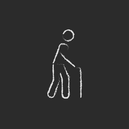 gerontology: Man with cane hand drawn in chalk on a blackboard vector white icon isolated on a black background. Illustration