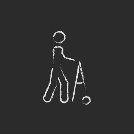Man with walker hand drawn in chalk on a blackboard vector white icon isolated on a black background.