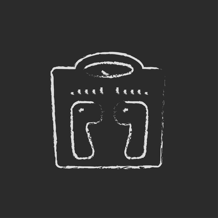 weighing scale: Weighing scale hand drawn in chalk on a blackboard vector white icon isolated on a black background.