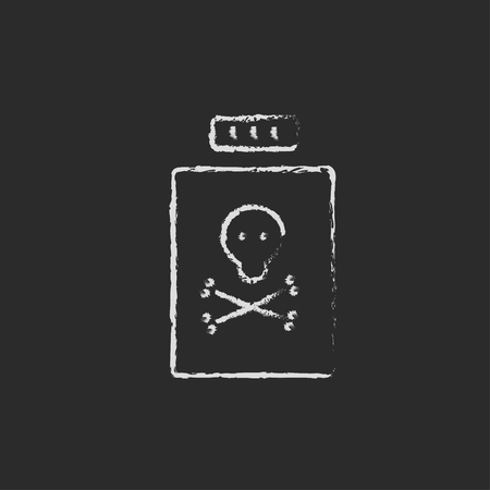 poison bottle: Bottle of poison hand drawn in chalk on a blackboard vector white icon isolated on a black background. Illustration