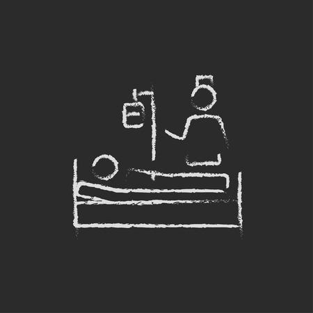 간호사 칠판에 분필로 그려진 환자의 손에 참석 벡터 흰 아이콘 검정색 배경에 고립. 스톡 콘텐츠 - 45322797