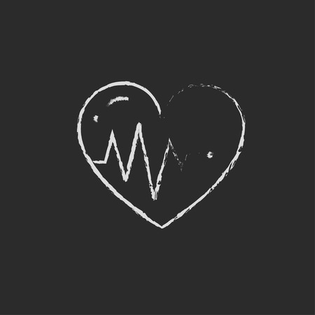 Heart with cardiogram hand drawn in chalk on a blackboard vector white icon isolated on a black background.