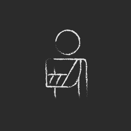 inmate: Injured man hand drawn in chalk on a blackboard vector white icon isolated on a black background.