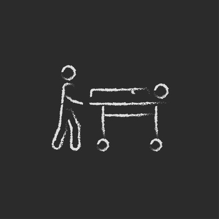 Man pushing stretchers hand drawn in chalk on a blackboard vector white icon isolated on a black background.