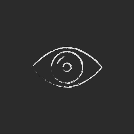 shortsighted: Eye hand drawn in chalk on a blackboard vector white icon isolated on a black background. Illustration