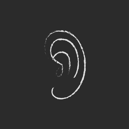audible: Human ear hand drawn in chalk on a blackboard vector white icon isolated on a black background. Illustration