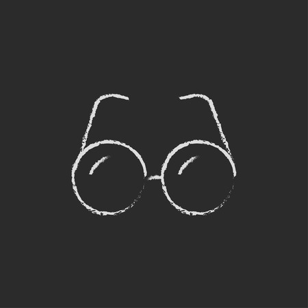 vision loss: Eyeglasses hand drawn in chalk on a blackboard vector white icon isolated on a black background.