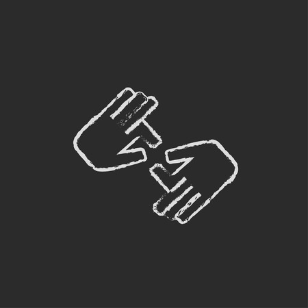 nonverbal: Finger language hand drawn in chalk on a blackboard vector white icon isolated on a black background.