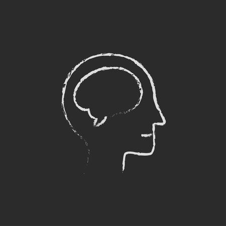 neurosurgery: Human head with brain hand drawn in chalk on a blackboard vector white icon isolated on a black background.