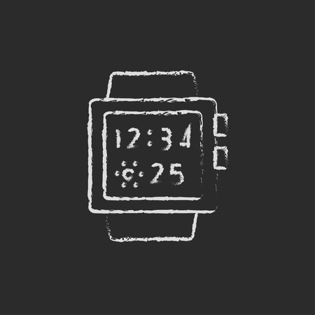 web: Smartwatch hand drawn in chalk on a blackboard vector white icon isolated on a black background. Illustration