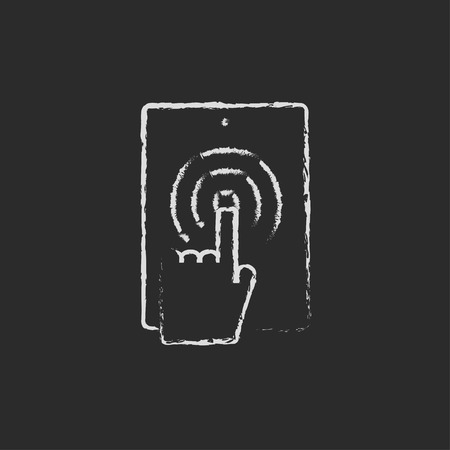 hand touch: Touch screen lablet hand drawn in chalk on a blackboard vector white icon isolated on a black background.