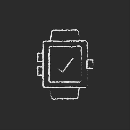 Smartwatch with check sign hand drawn in chalk on a blackboard vector white icon isolated on a black background.
