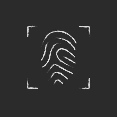 fingertip: Fingerprint scanning hand drawn in chalk on a blackboard vector white icon isolated on a black background.