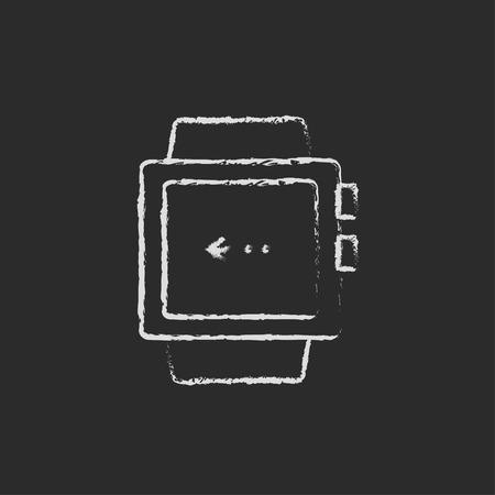 Smartwatch hand drawn in chalk on a blackboard vector white icon isolated on a black background. Illustration