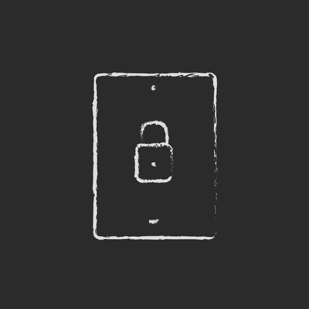 smartphone hand: Smartphone security hand drawn in chalk on a blackboard vector white icon isolated on a black background. Illustration