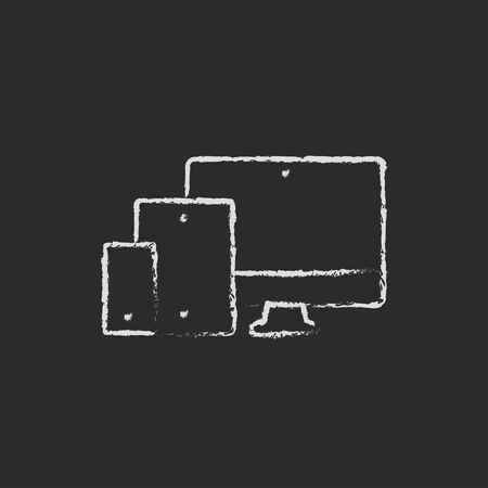 response: Responsive web design hand drawn in chalk on a blackboard vector white icon isolated on a black background.