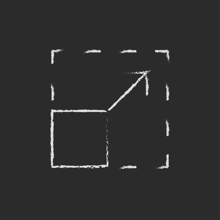 scalable: Scalability hand drawn in chalk on a blackboard vector white icon isolated on a black background.