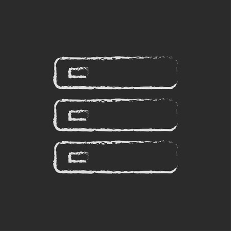 storage device: Computer server hand drawn in chalk on a blackboard vector white icon isolated on a black background.