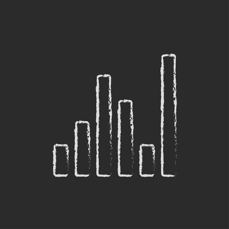 Digital equalizer hand drawn in chalk on a blackboard vector white icon isolated on a black background.
