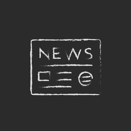 newspaper headline: Newspaper hand drawn in chalk on a blackboard vector white icon isolated on a black background.