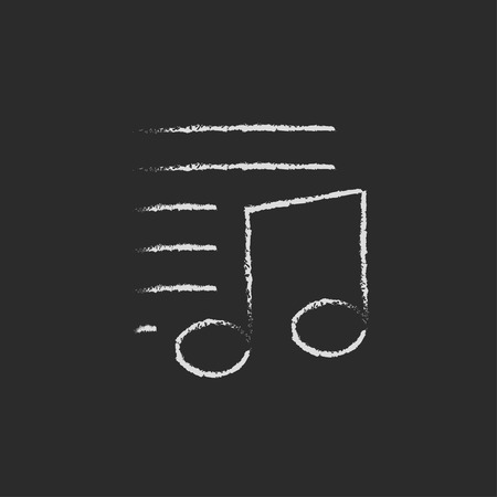 melodies: Musical note and lines hand drawn in chalk on a blackboard vector white icon isolated on a black background. Illustration