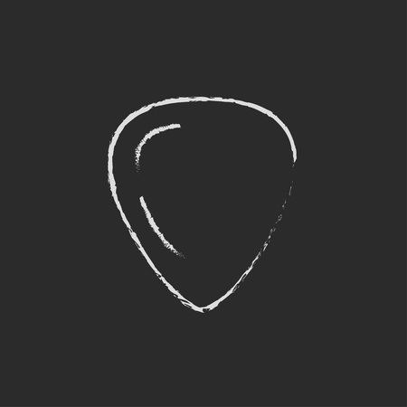 guitar pick: Guitar pick hand drawn in chalk on a blackboard vector white icon isolated on a black background.