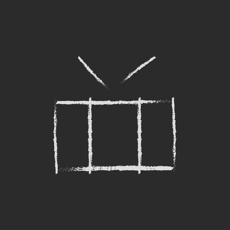 Drum with sticks hand drawn in chalk on a blackboard vector white icon isolated on a black background. Illusztráció