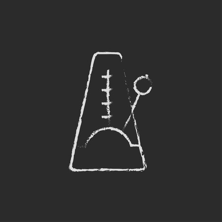 metronome: Metronome hand drawn in chalk on a blackboard vector white icon isolated on a black background.