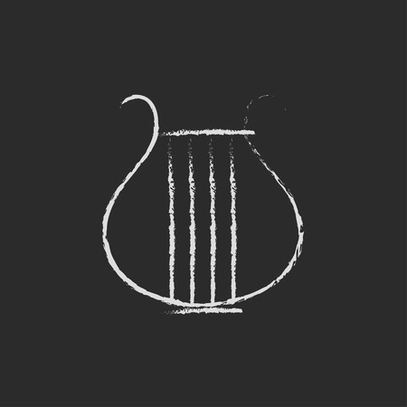 lyre: Lyre hand drawn in chalk on a blackboard vector white icon isolated on a black background. Vettoriali