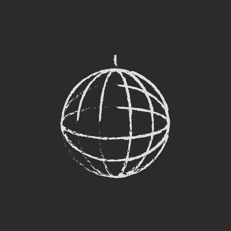 mirrorball: Disco ball hand drawn in chalk on a blackboard vector white icon isolated on a black background. Illustration