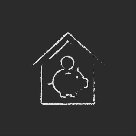 House savings hand drawn in chalk on a blackboard vector white icon isolated on a black background. Illusztráció
