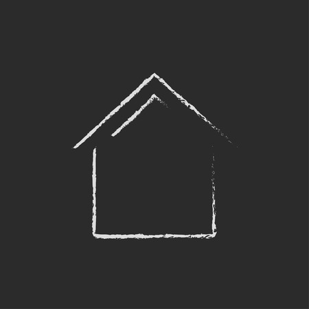 house construction: House hand drawn in chalk on a blackboard vector white icon isolated on a black background.
