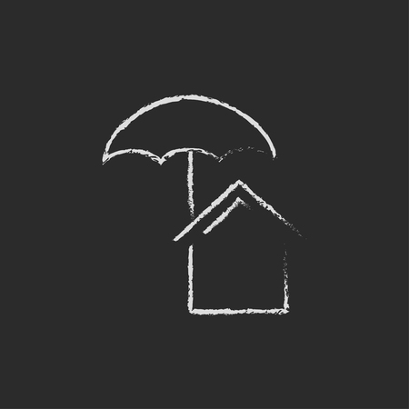 belay: House insurance hand drawn in chalk on a blackboard vector white icon isolated on a black background. Illustration