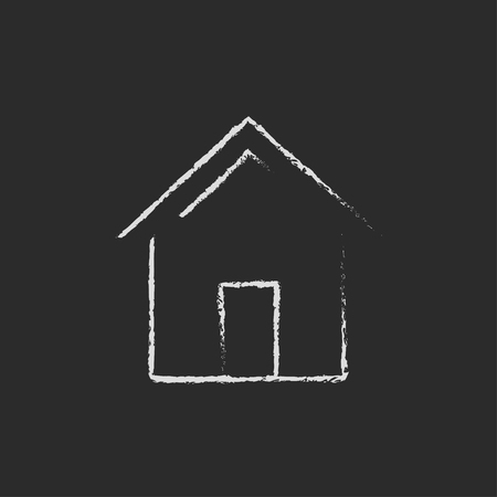 modern house: House hand drawn in chalk on a blackboard vector white icon isolated on a black background.