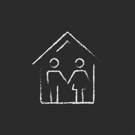 black family: Family house hand drawn in chalk on a blackboard vector white icon isolated on a black background. Illustration