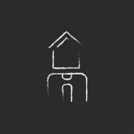 renter: Real estate agent hand drawn in chalk on a blackboard vector white icon isolated on a black background.